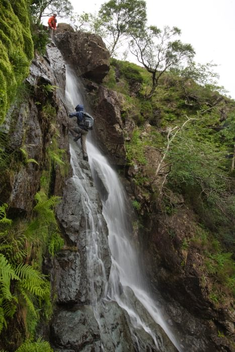 Top roping the crux pitch of Link Cove Gill