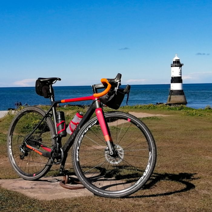 Gravel bike parked up at Penmon Point on Anglesey during a mixed tarmac/trail ride
