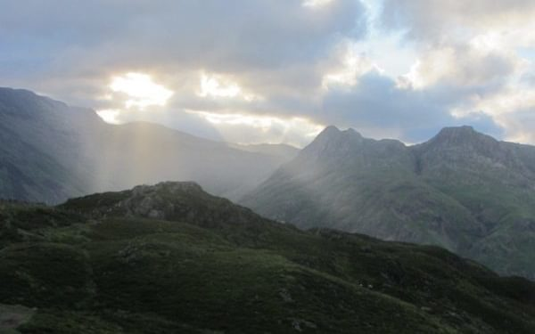 Evening Light Over The Langdale Pikes From Lingmoor