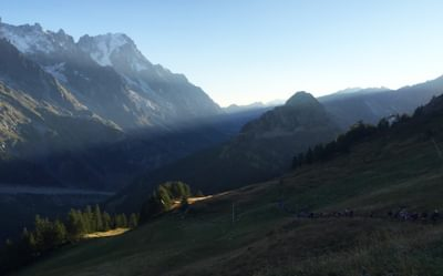 Early Morning Climb Up To Arete Mont Favre Above Courmayeur During The Tds