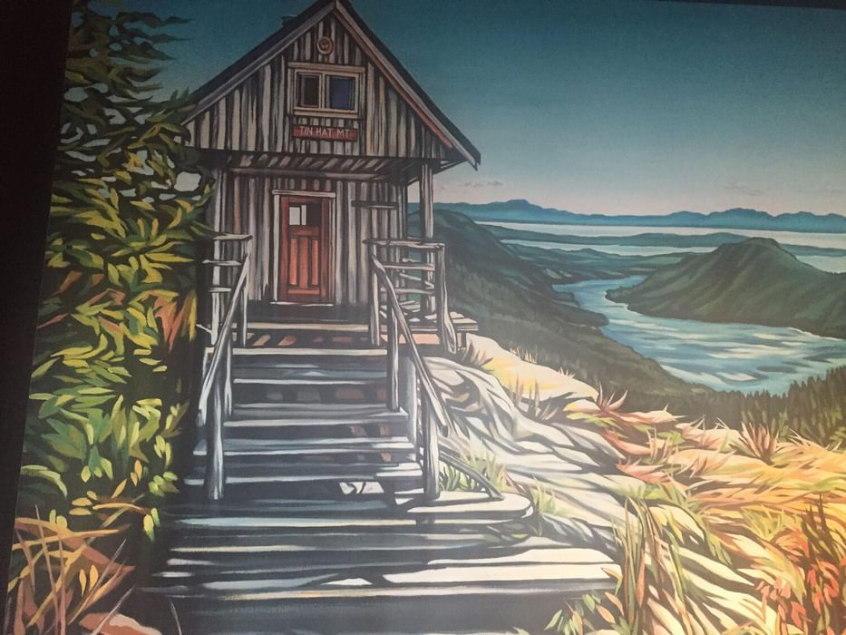 Painting of Tin Hat hut at Townsite Brewing