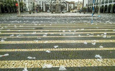 Millions Of Wet Plastic Bags Strewn Around Ponta Delgada