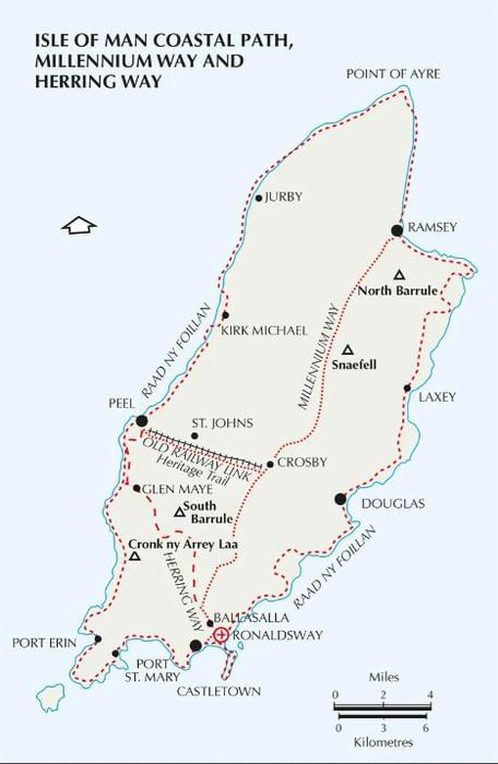 Isle of Man Coastal Path map