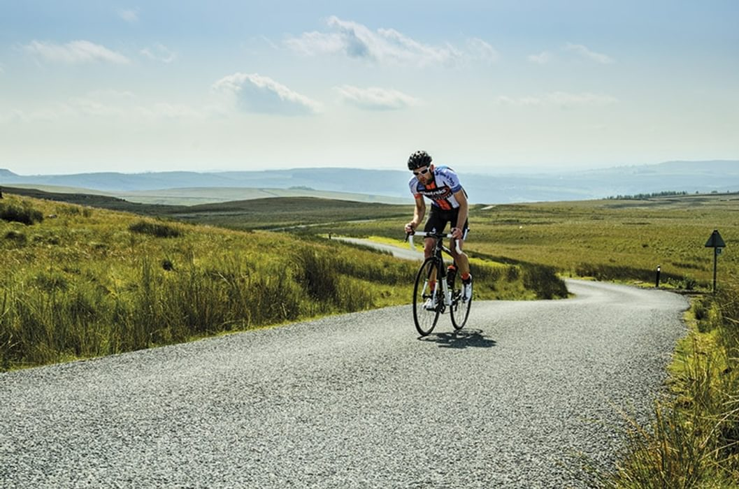 Sportive rider near the top on Bowland Knotts (Day Ride 5)