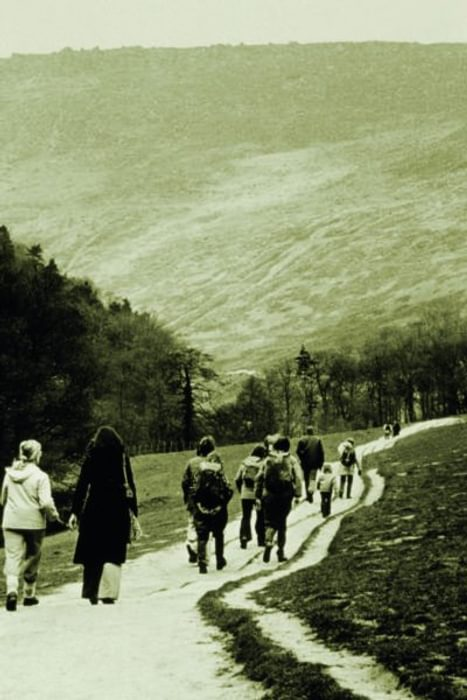 The eroded start of the Pennine Way across Grindsbrook Meadows, Edale, in the 1970s. (photo: Peak District National Park Authority)