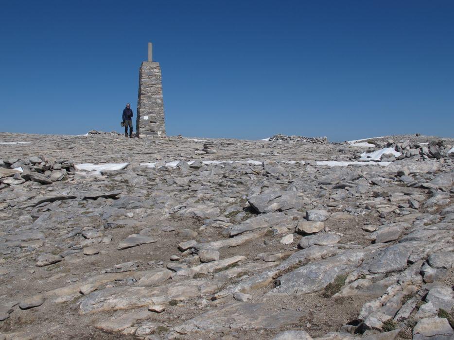 Massive IGN Trigpoint on La Maroma's limestone summit plateau