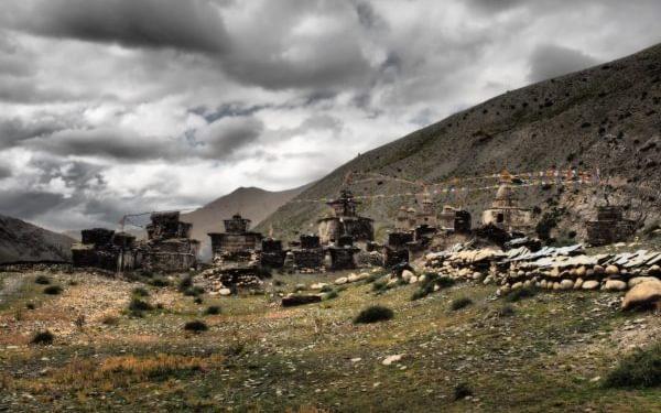 Ancient Chortens And Mani Walls At Phalwa