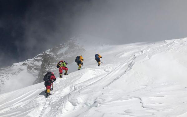 Team climbing at 7400m on K2