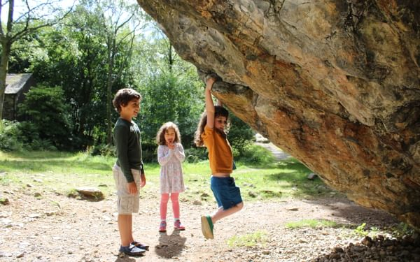 Kids climbing in Borrowdale Lake District