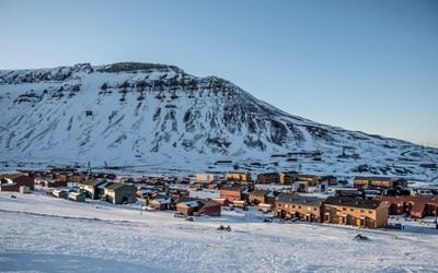 Back to civilisation.  The 'city' of Longyearbyen on the island of Spitsbergen in the archipelago of Svalbard belonging to Norway. Soon enough you will long for the place where you were on expedition: 'nowhere'
