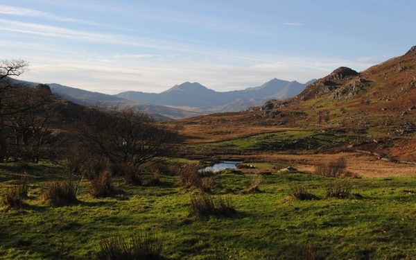 Snowdon And Y Lliwedd From Capel Curig With The Bwlch Y Saethau Between Them