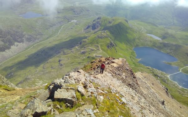 The East Ridge Of Crib Goch With Pen Y Pass Visible
