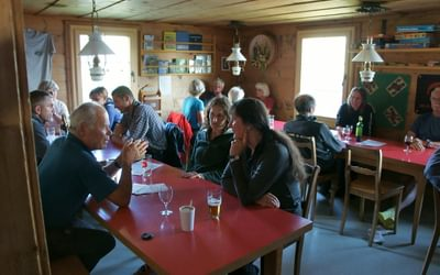 The friendly dining room/stube at the Schesaplana Hut
