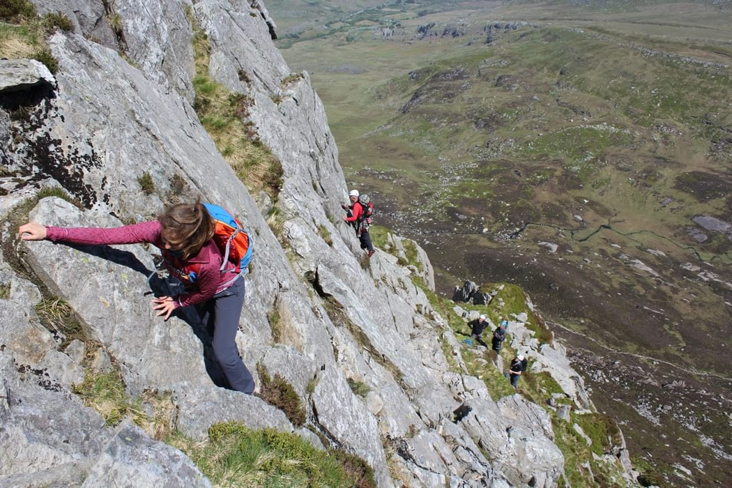The Holds Were Always There On North Buttress Variant With Party On A North Buttres Rock Climb Beyond
