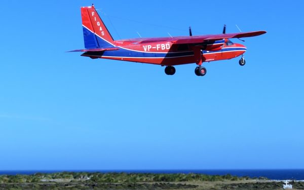 Figas Plane Departing From Sea Lion Island