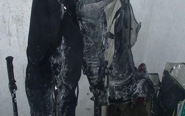 5 Iced Up Rucksacks Adorn The Refuge Walls