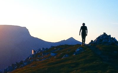 Ben Nevis at sunset, seen from the Mamores on Tranter's Walk