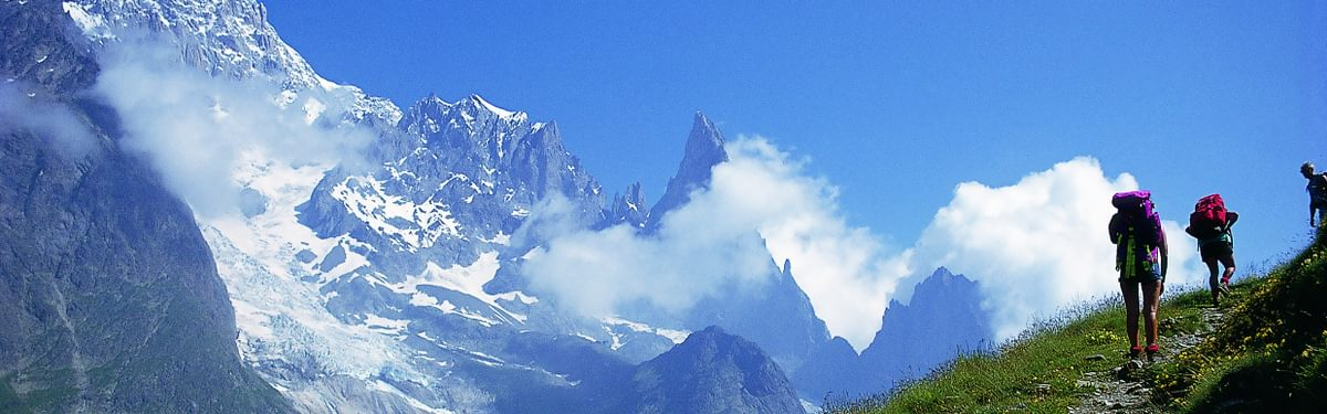 Trekkers on the Italian side of Mont Blanc