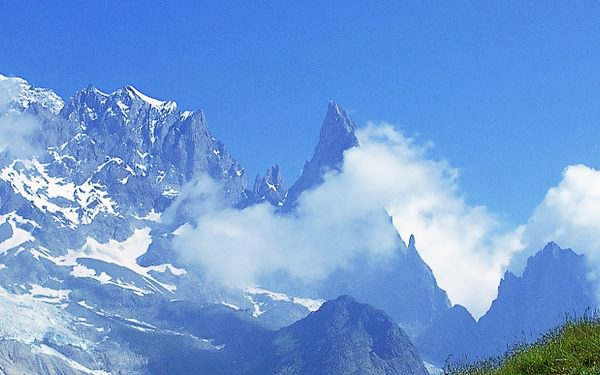 Trekkers on the Italian side of Mont Blanc