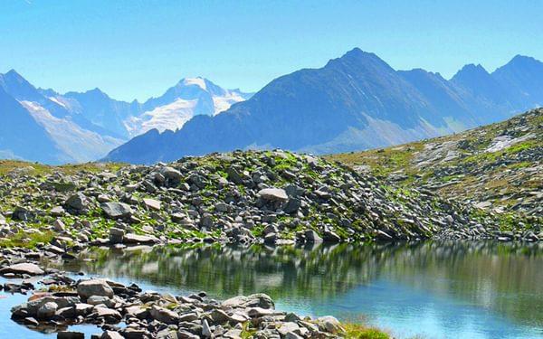 Alpine lakes below the Alpeiner Scharte, Austria