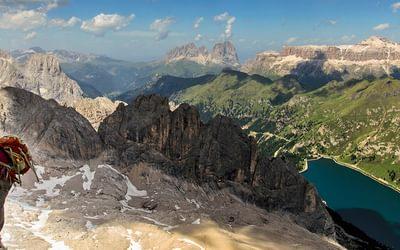 Sassolungo, the Sella and Lago Fedaia