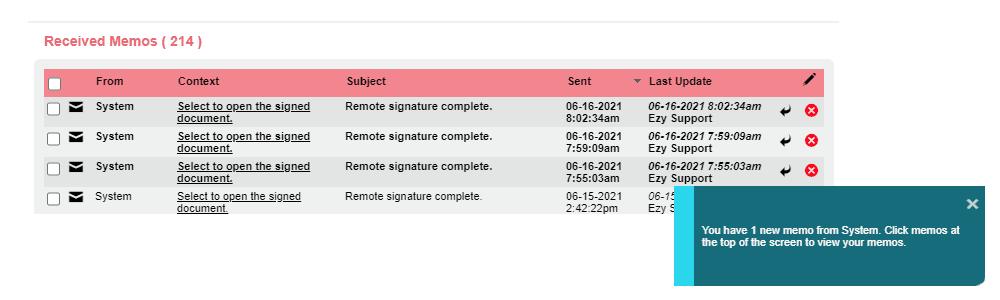 Remote Signatures Memos