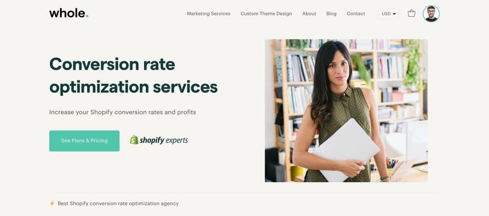 Best shopify conversion rate optimisation agency Whole Design Studios