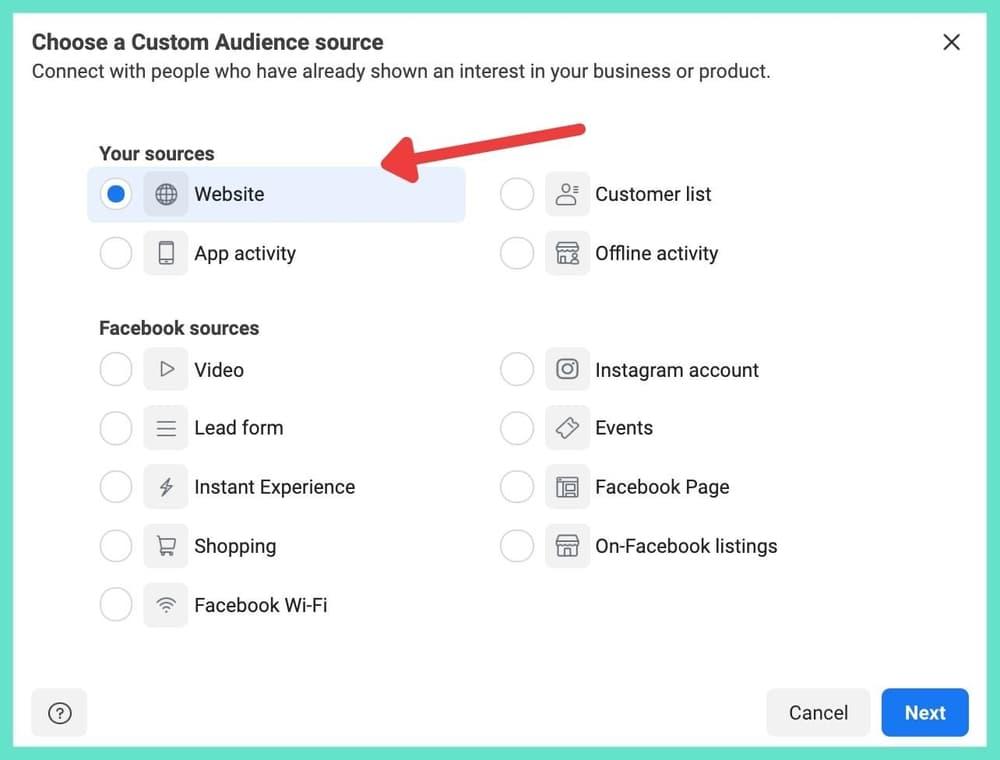 Choosing the correct custom audience source