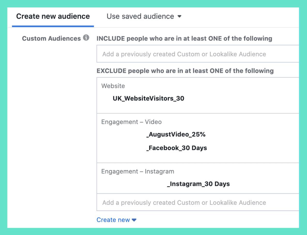 Facebook Ad Set Exclusions