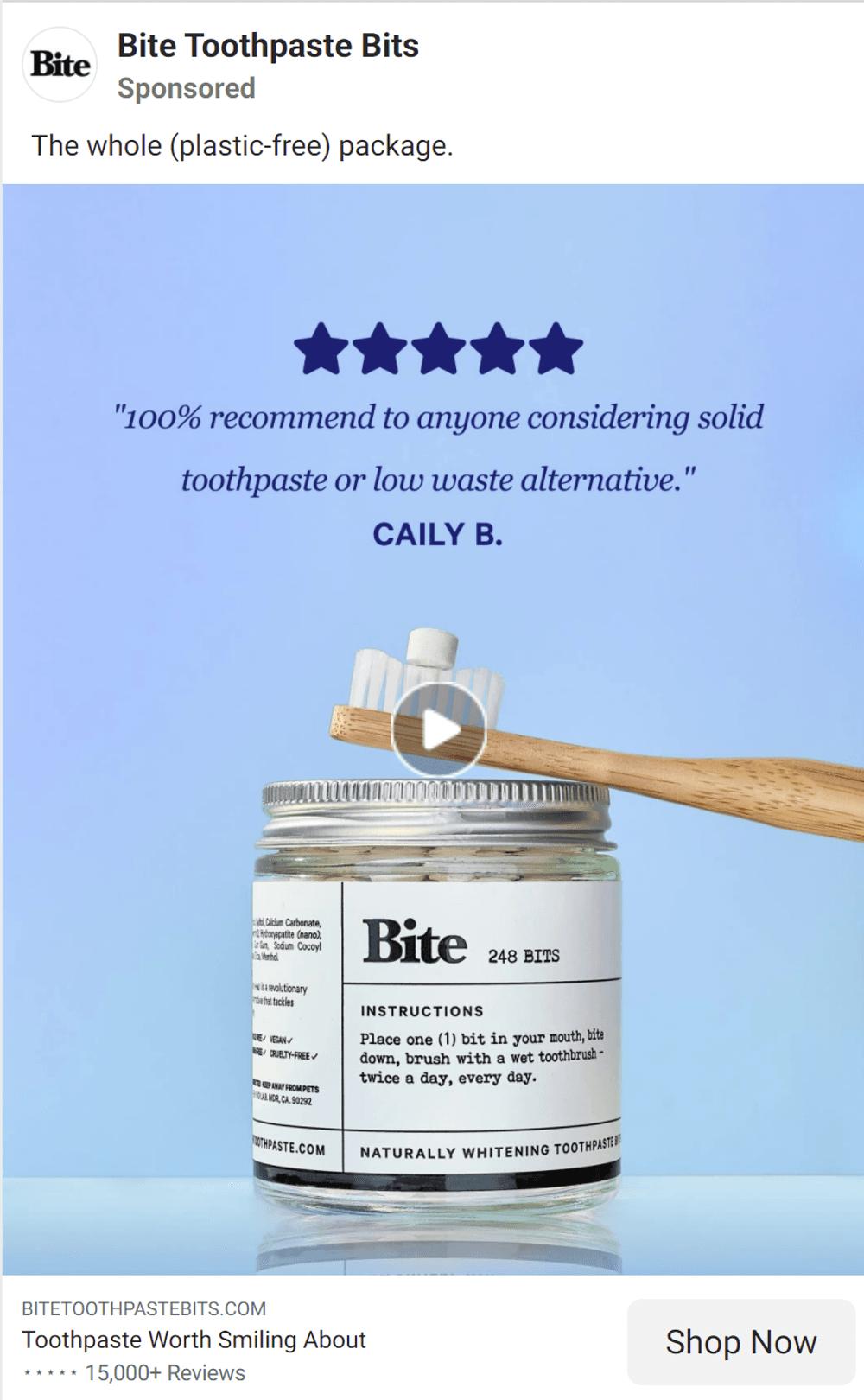 Facebook video ads wellness brand