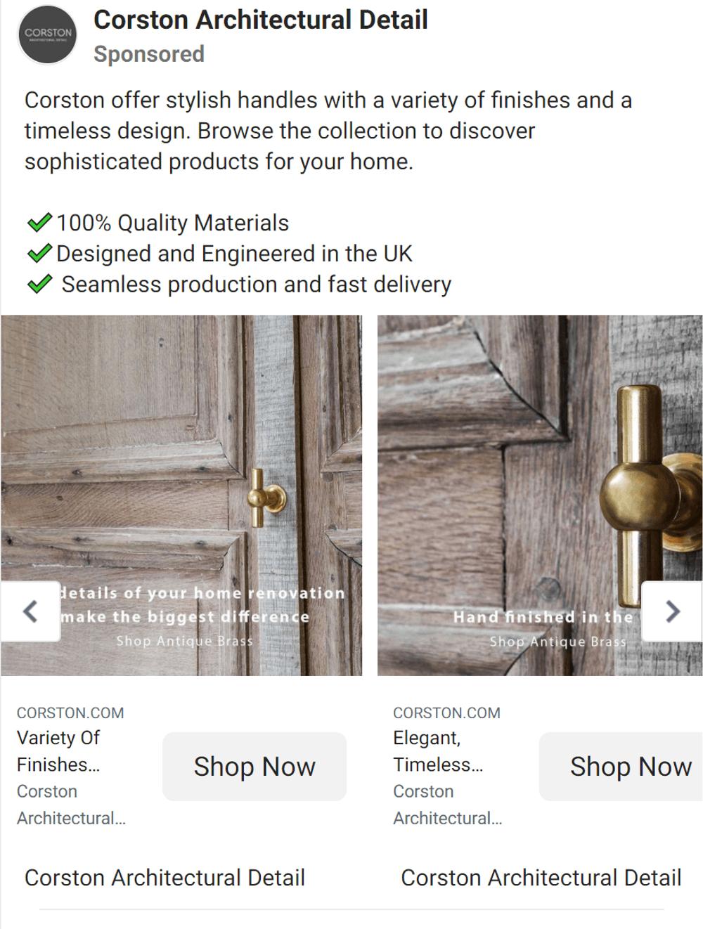 Facebook ad copy examples homeware brand