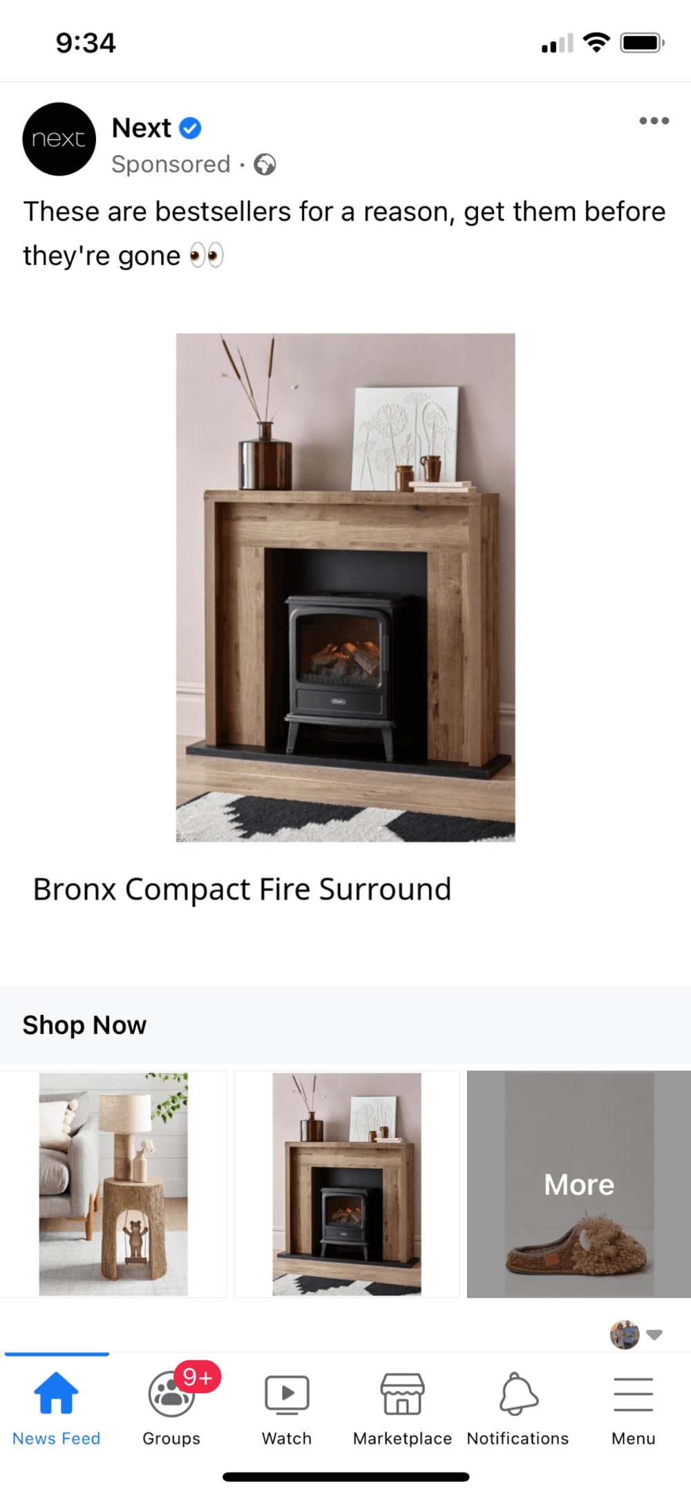 Facebook collection ad examples homeware brand