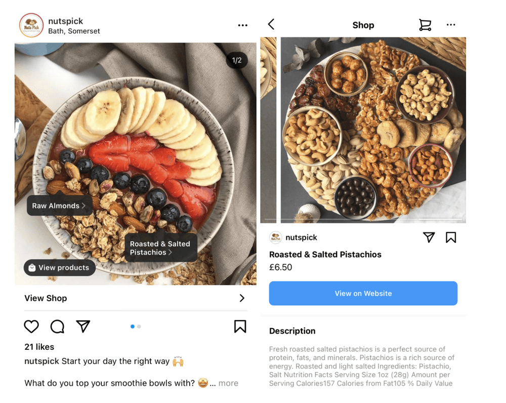 Tagged Instagram Post for Food Brand