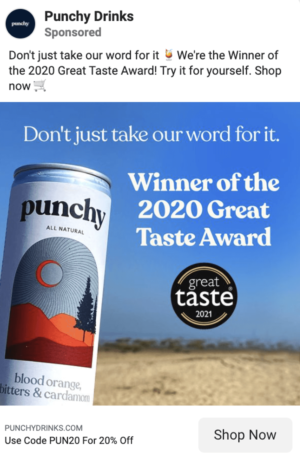 Facebook ad copy examples food & drinks brand