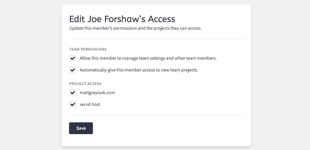 Edit Team Member Access