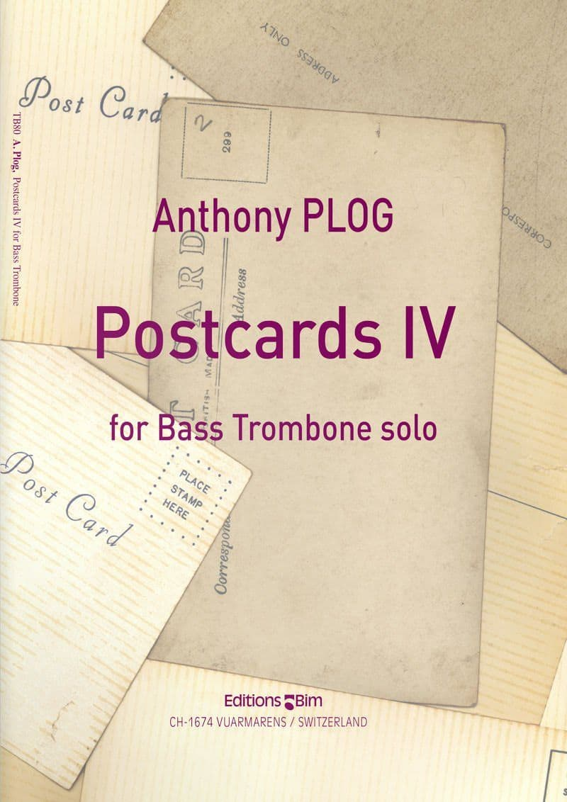Plog Anthony Postcards Iv For Bass Trombone Tb80