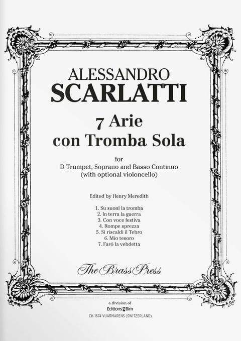 Scarlatti  Alessandro 7  Arie Con Tromba  Sola  Tp130