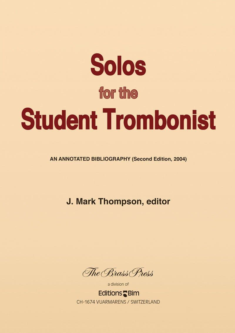 Thompson Mark Solos For The Student Trombonist Br P19