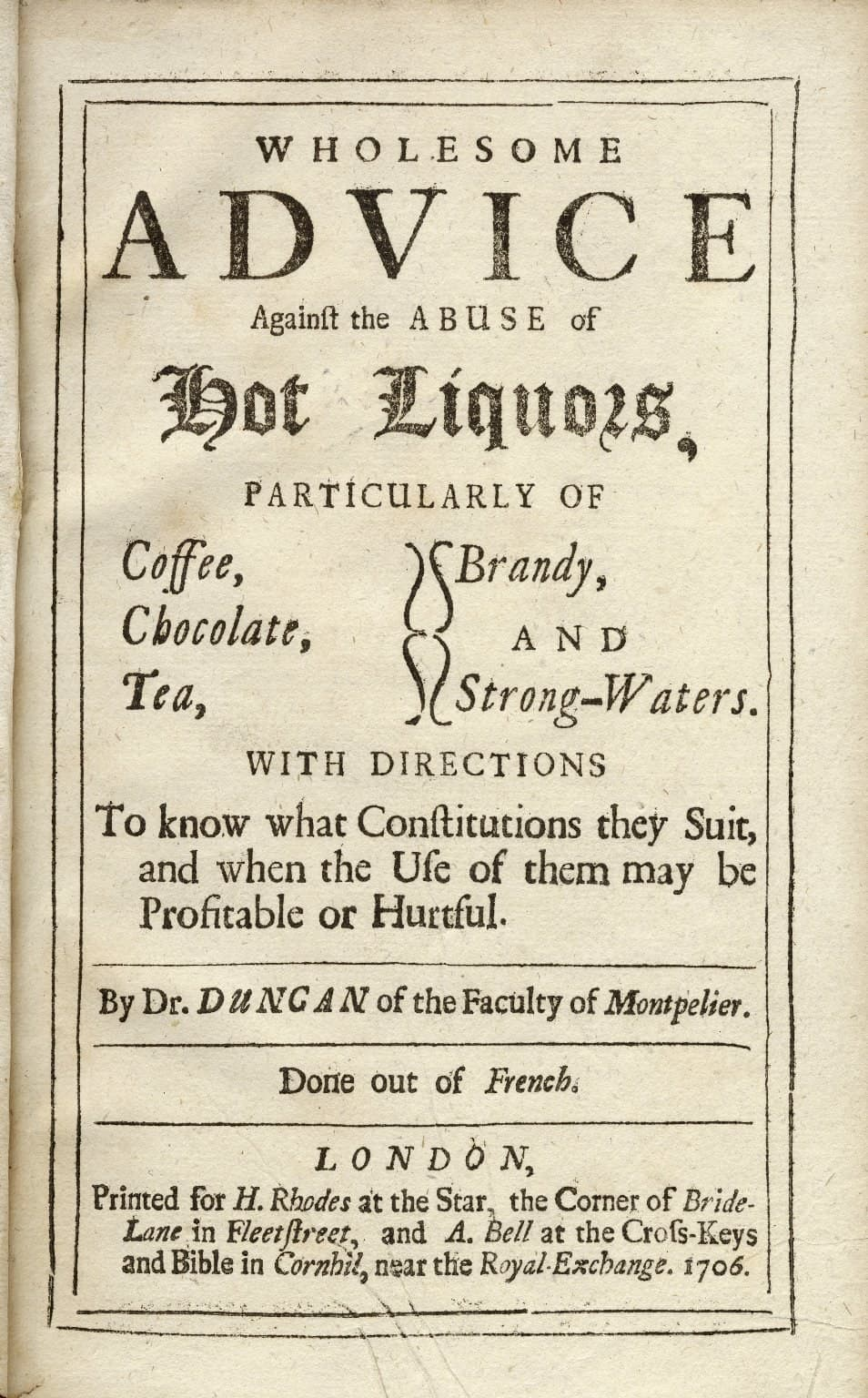 Wholesome Advice against the Abuse of Hot Liquors Title Page