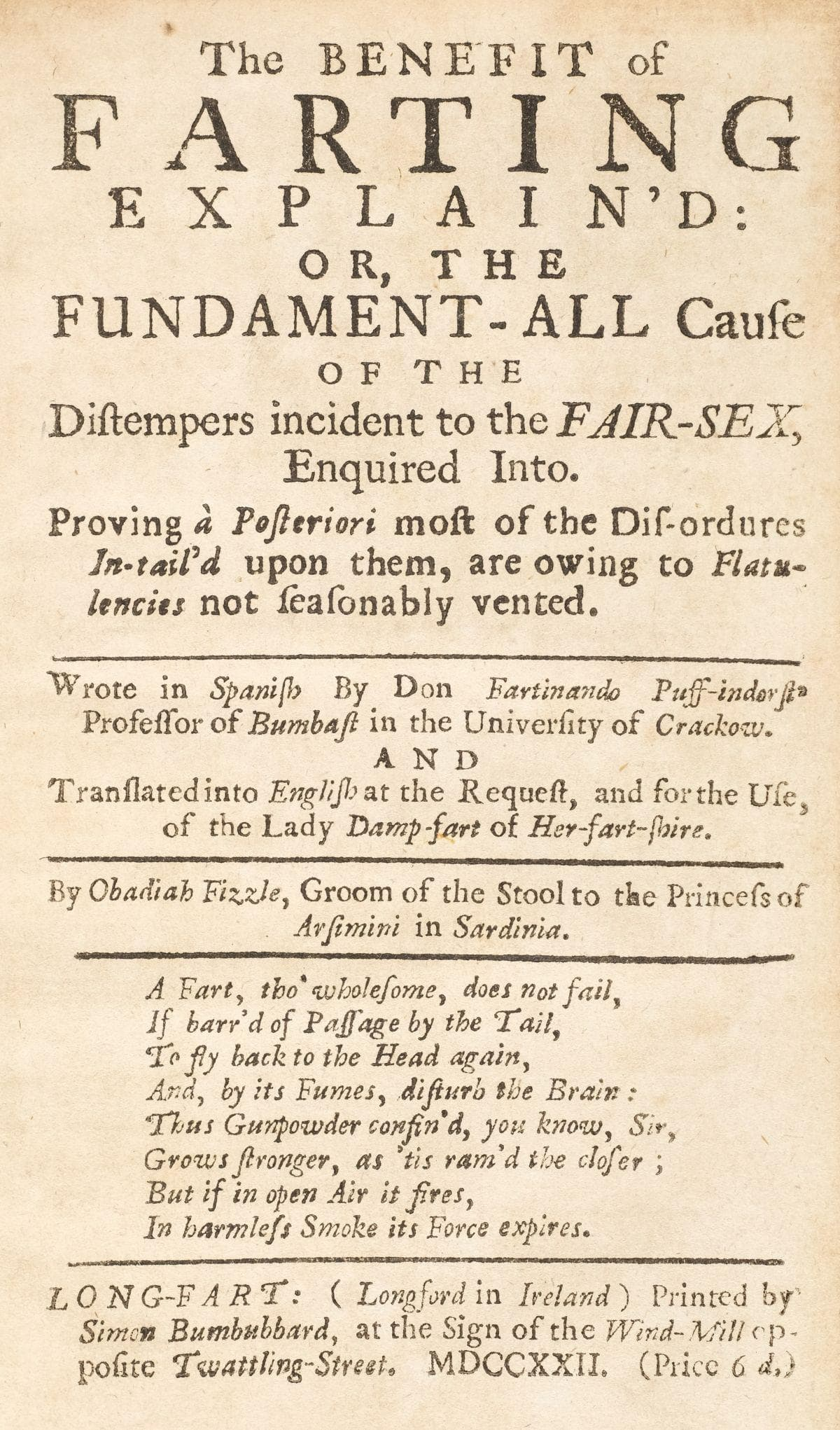 The Benefit of Farting Title Page