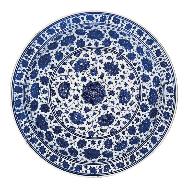 Ottoman Iznik Blue and White Pottery Dish