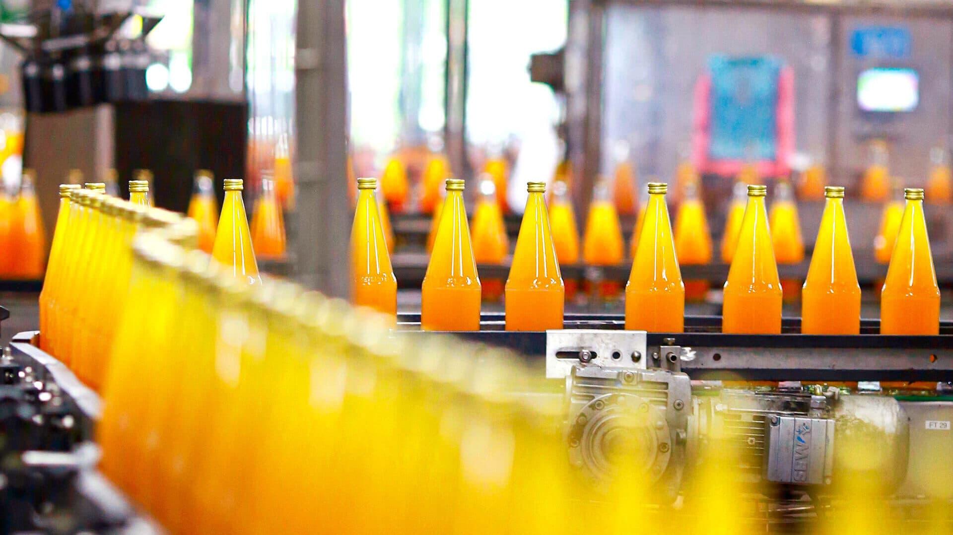 Frisch gepresster Apfelsaft auf dem Weg zur Etikettiermaschine.