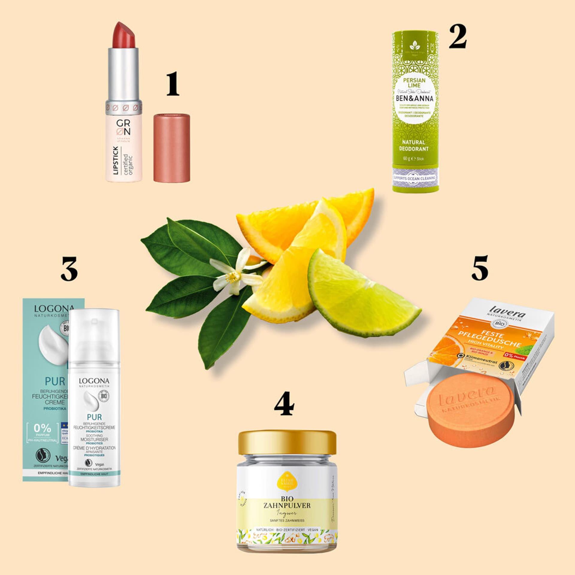 Fünf vegane Kosmetik-Produkte: Lippenstift, Deo, feste Dusche, Zahnpulver, Gesichtscreme
