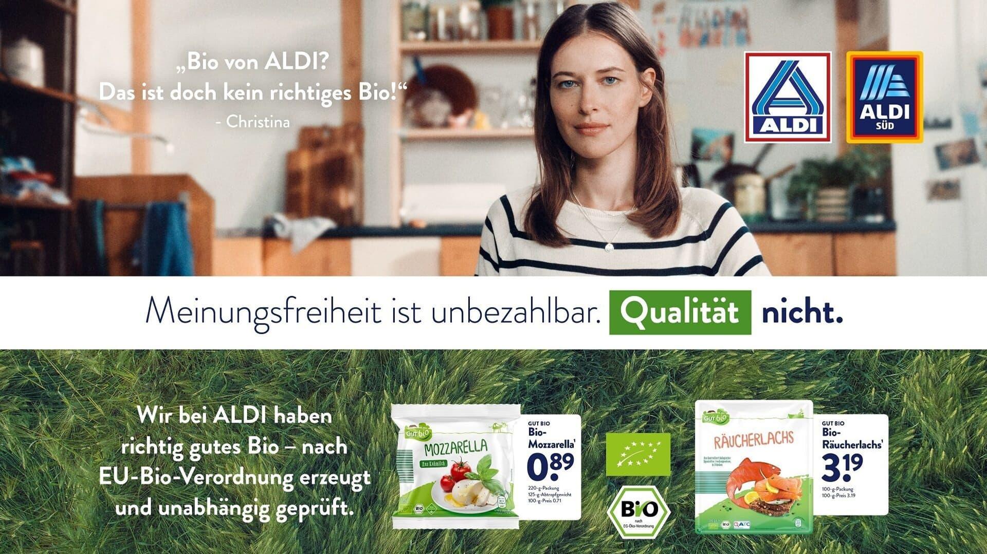 Werbeplakat der Aldi Qualitätskampagne