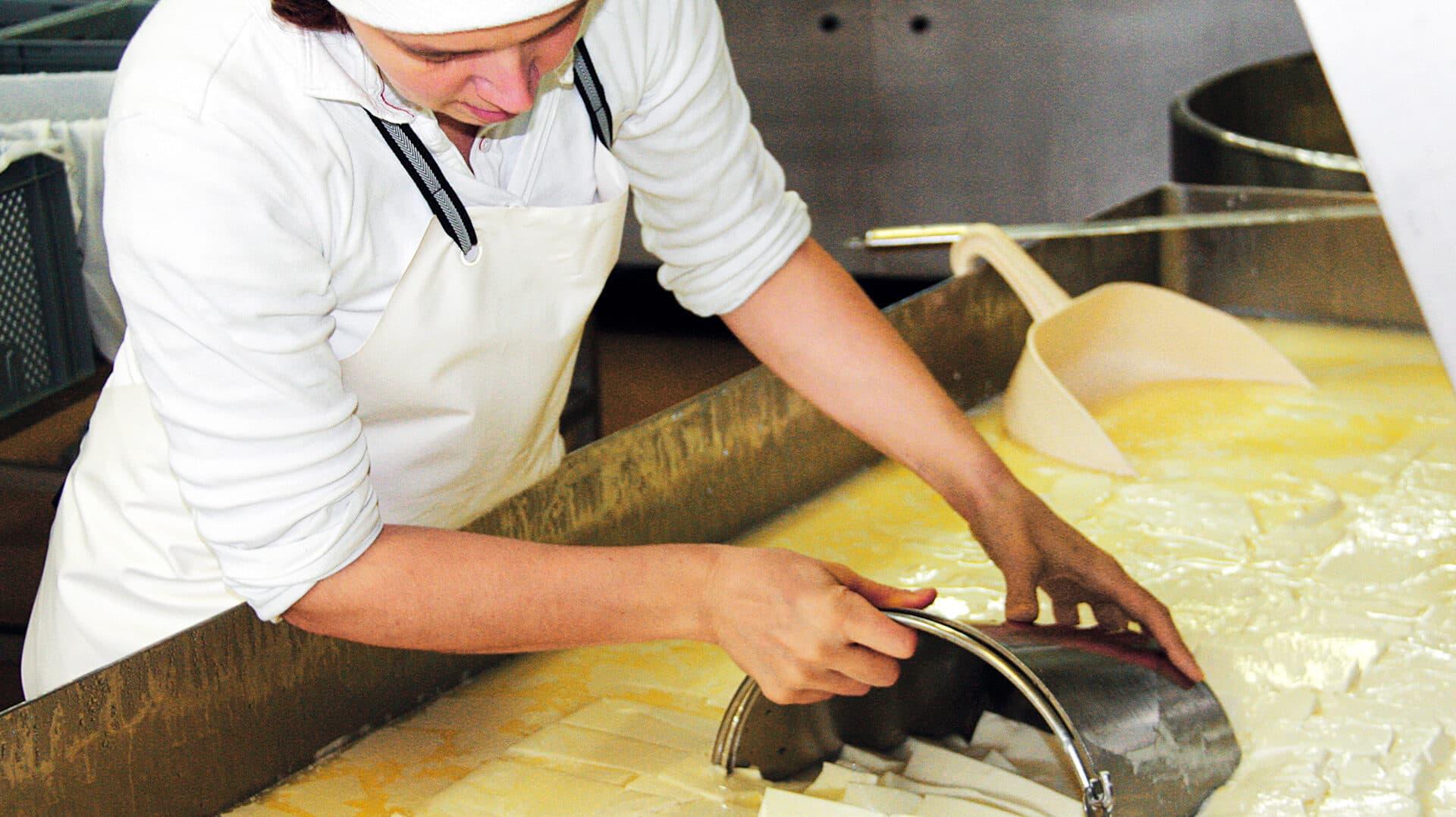 Eine Mitarbeiterin bei der Käseproduktion