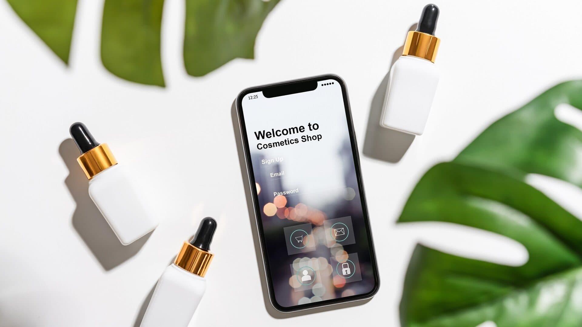 Ein Smartphone liegt zwischen Kosmetikfläschchen