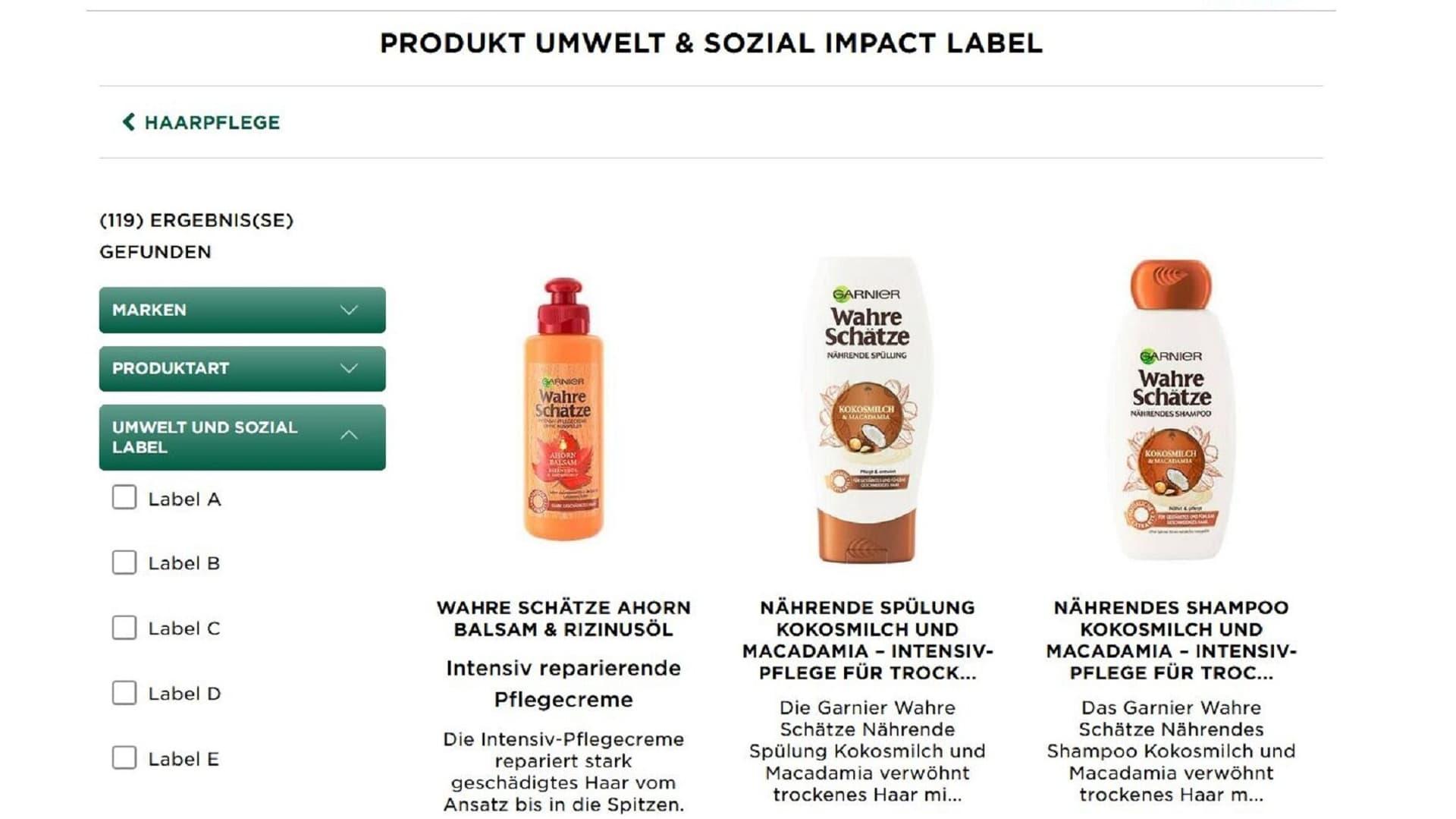 L'Oréal Garnier Produkte, Produkt Umwelt & Sozial Impact Label, Nachhaltigkeit