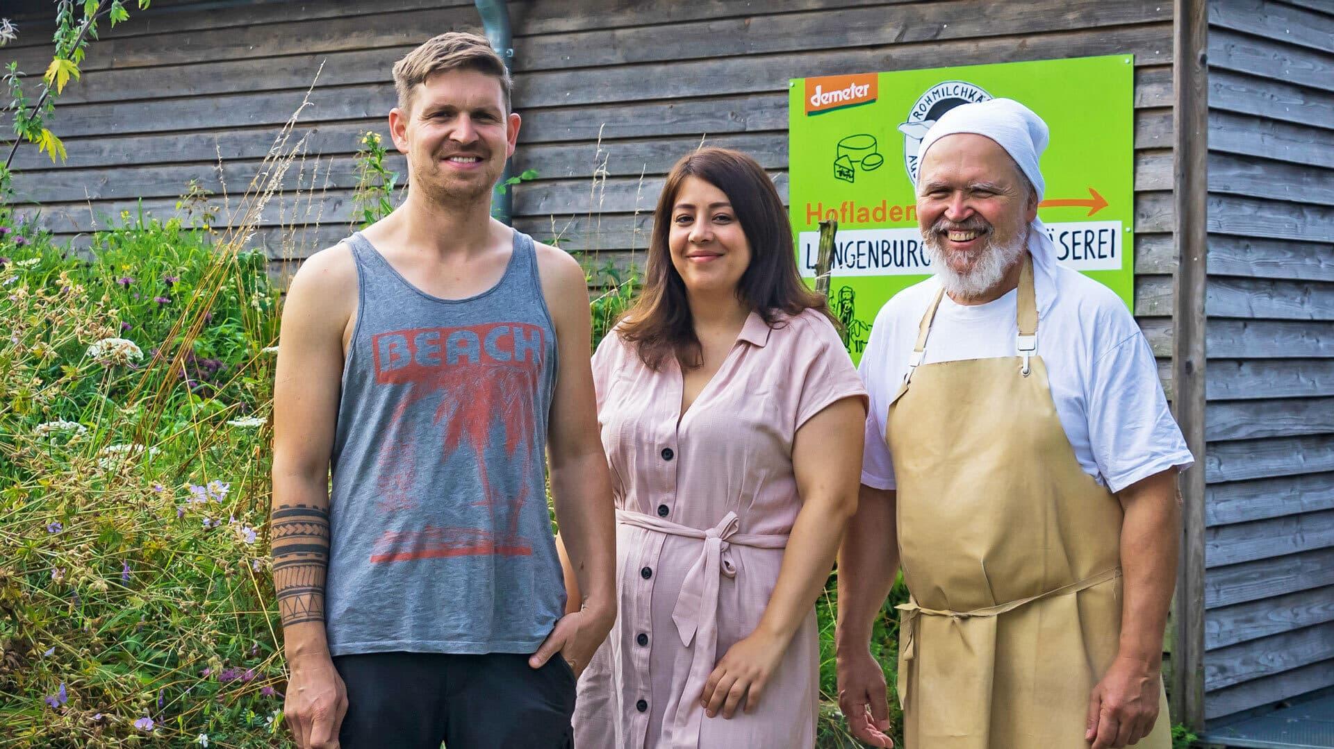 Wendelin Fischer mit Partnerin Tuba und Vater Norbert