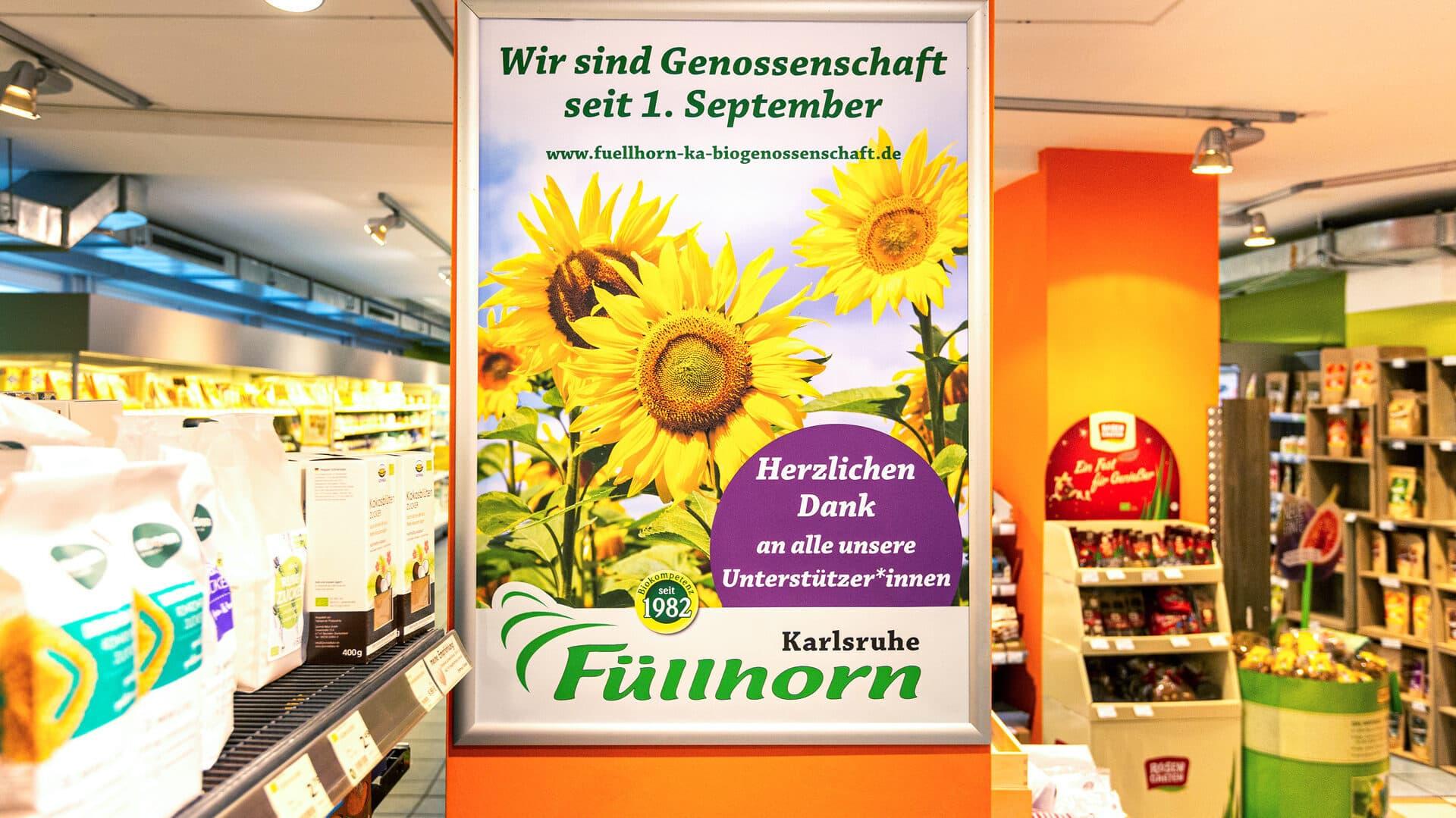 Ein Plaket zur Genossenschaftsgründung im Karlsruher Füllhorn.