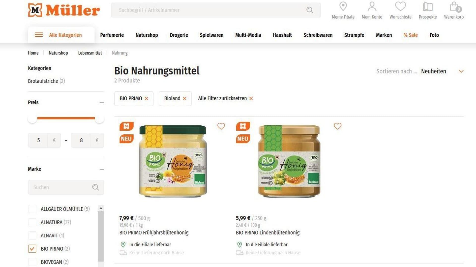Müller, Drogerie, Honig